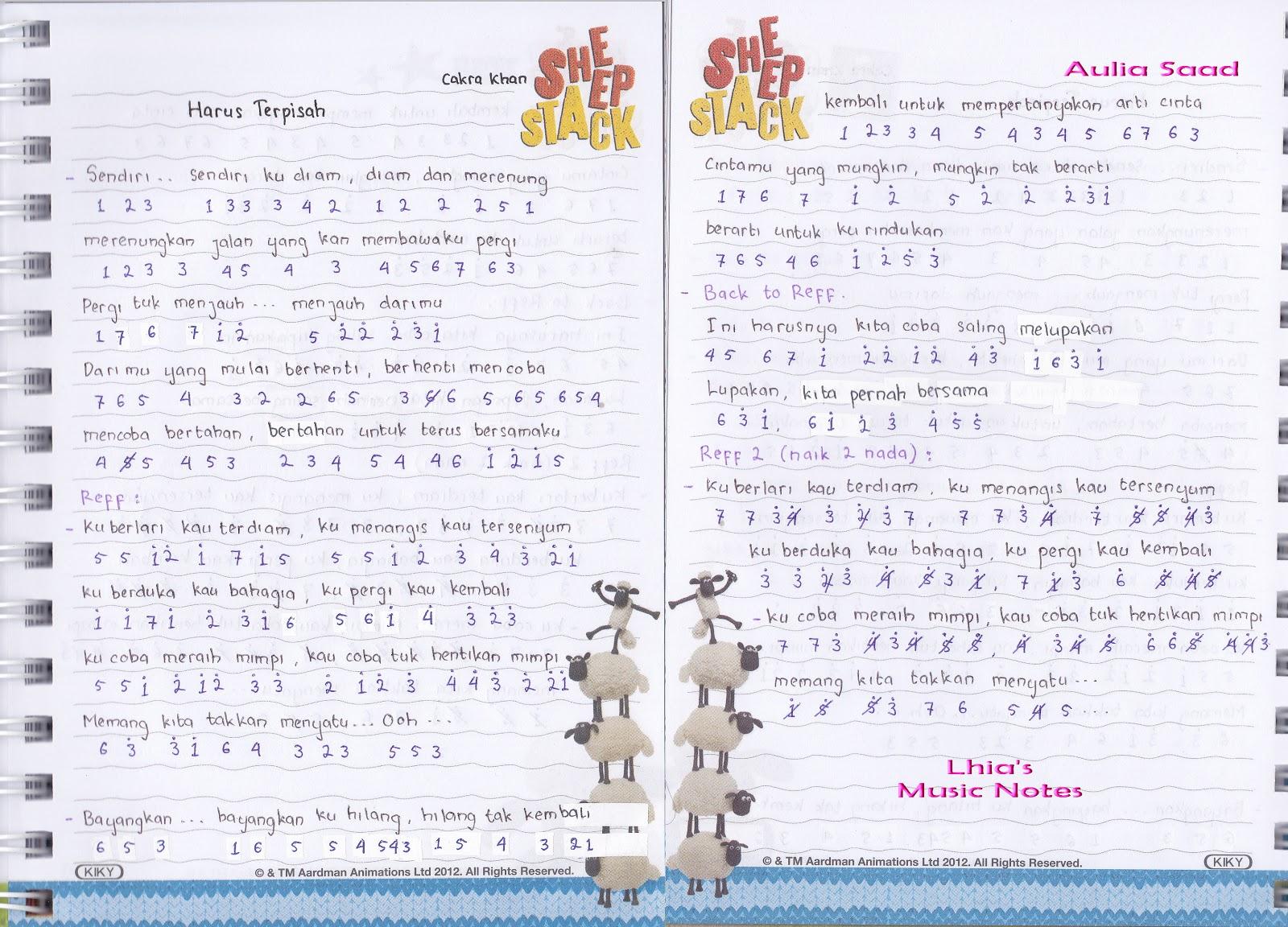 Catatan Not Lagu Cakra Khan Harus Terpisah Rumor Butiran Debu Adera Lebih Indah Piano Pemula Lhia S Music Notes