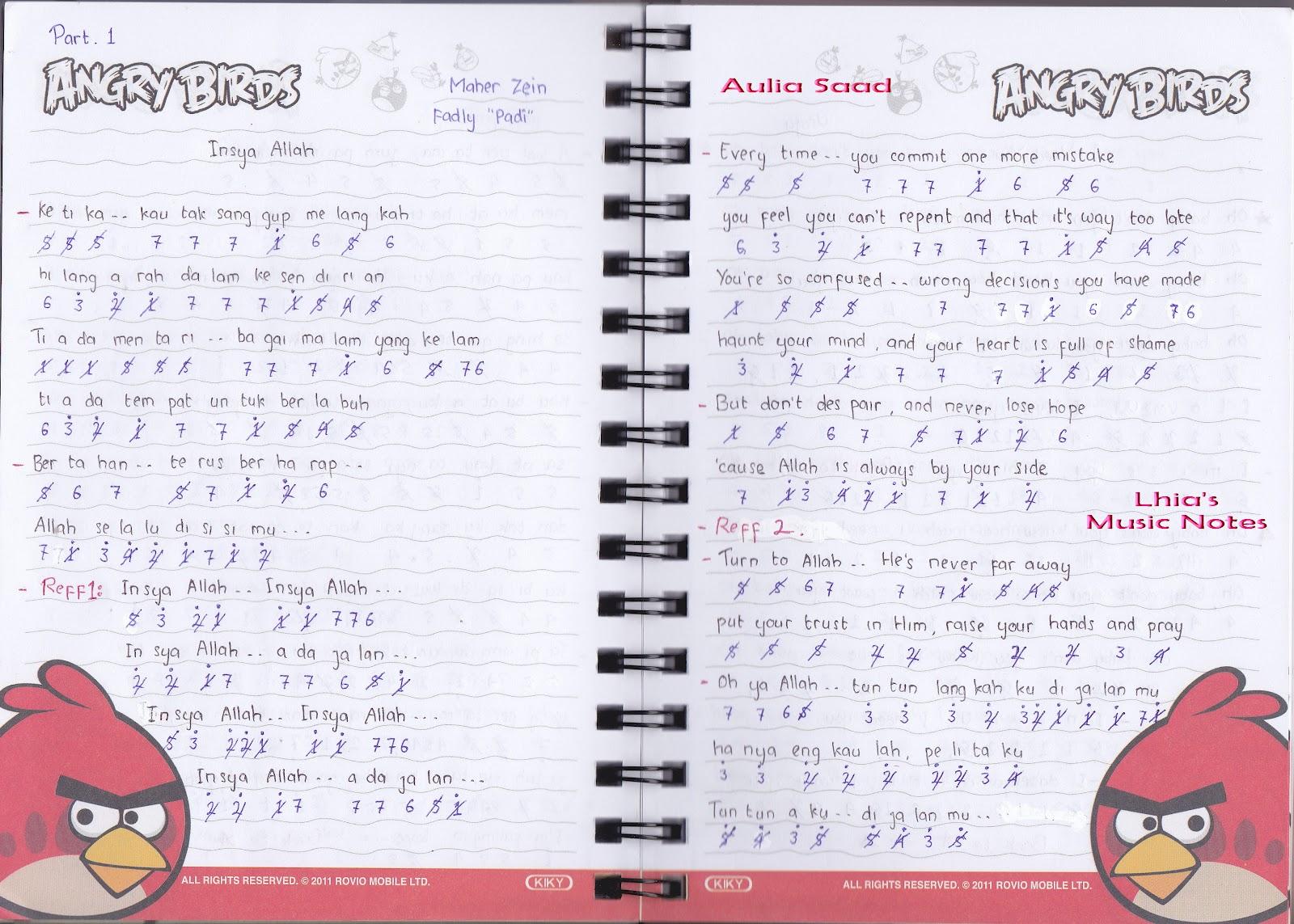 "Catatan Not Lagu – Maher Zein & Fadly ""Insya Allah"" (Piano"