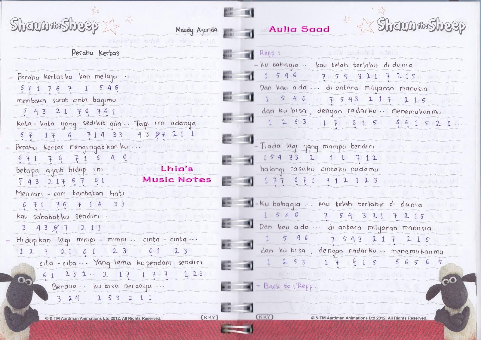 """Catatan Not Lagu – Maudy Ayunda, """"Perahu Kertas"""" (Piano/Pianika"""