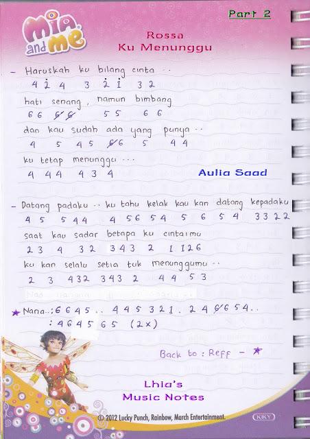 not piano pianika lagu rossa ku menunggu | Lhia's Music Notes