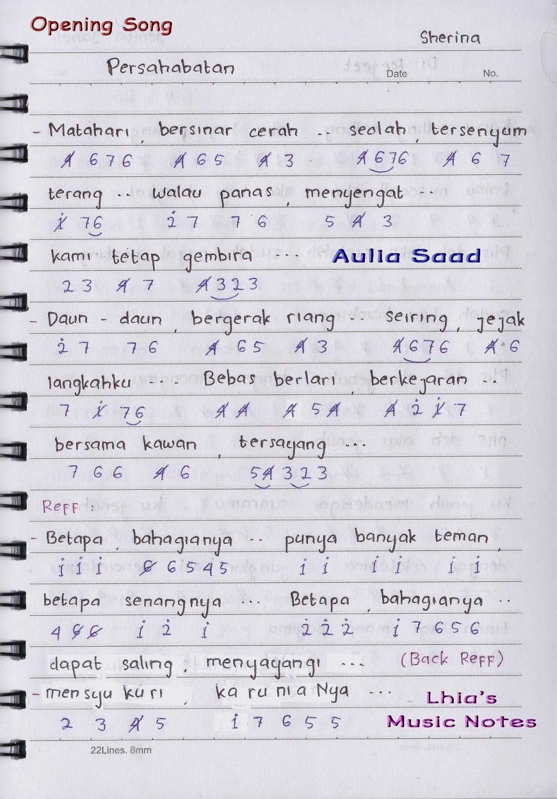 Not Angka Ost Petualangan Sherina Lhia S Music Notes
