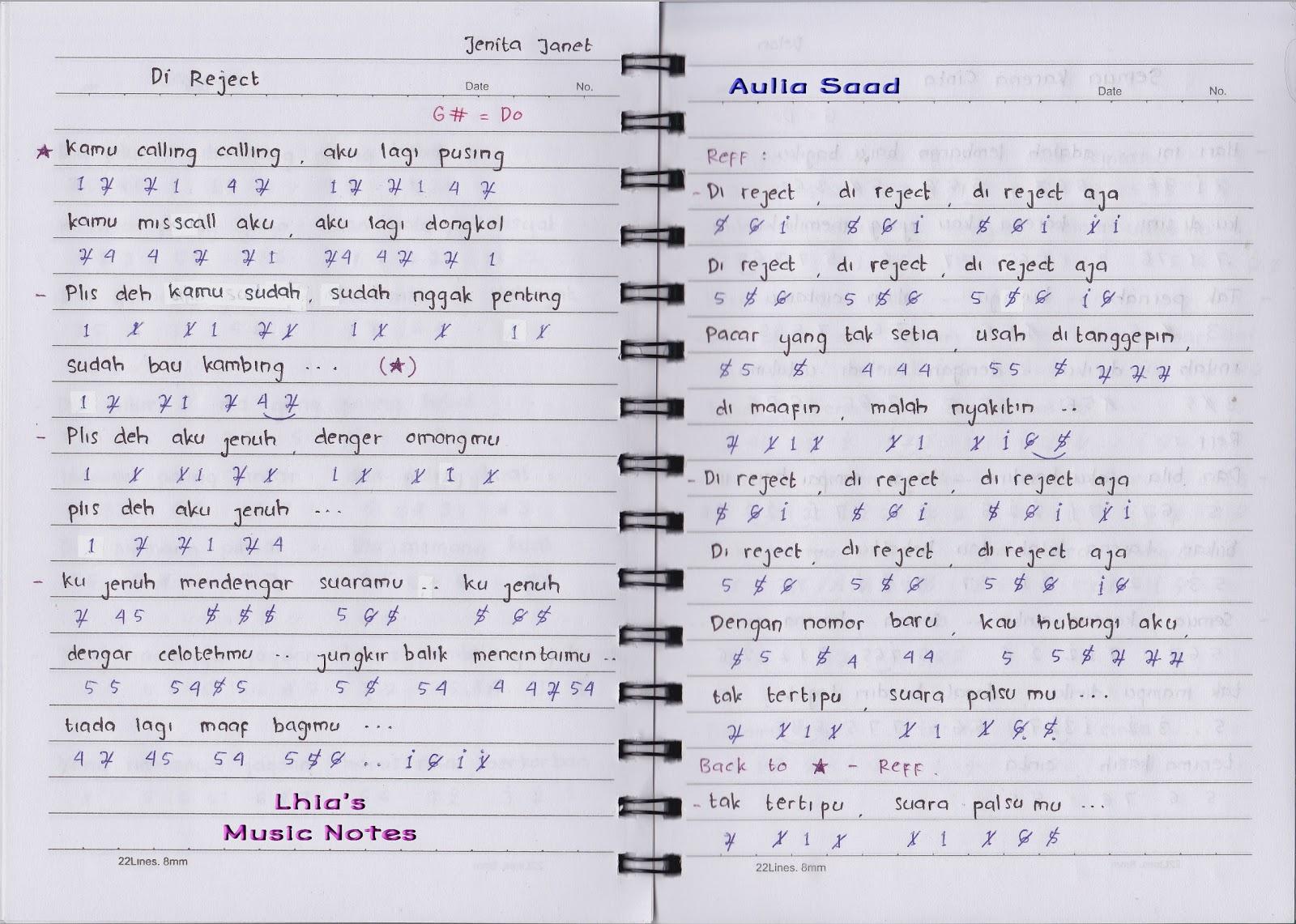 Not Angka Lagu Dangdut Lhia S Music Notes Laman 2