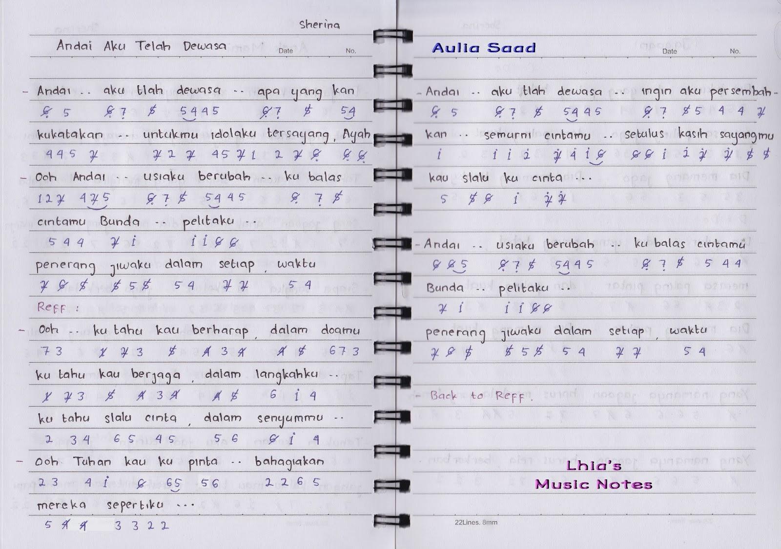 Not Angka : Sherina – Andai Aku Telah Dewasa | Lhia's Music Notes