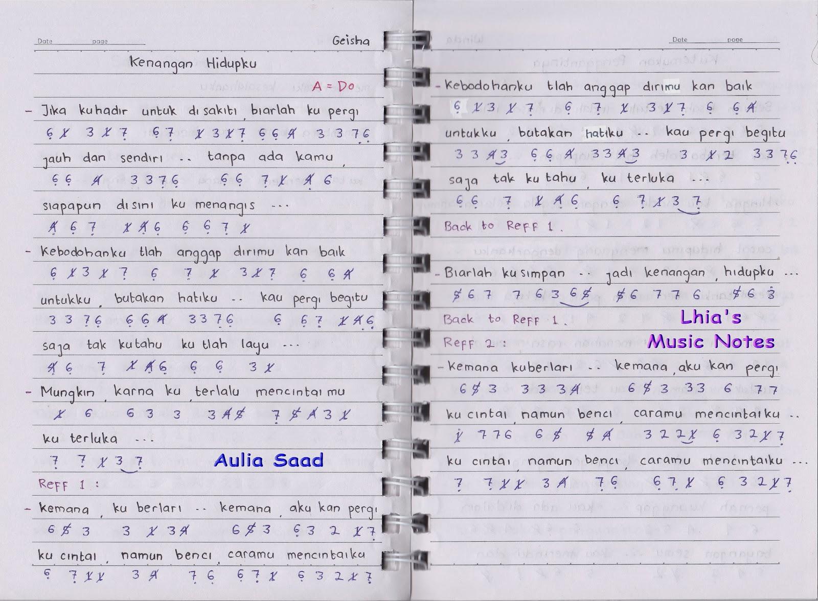 Not Angka Geisha Kenangan Hidupku Lhia S Music Notes