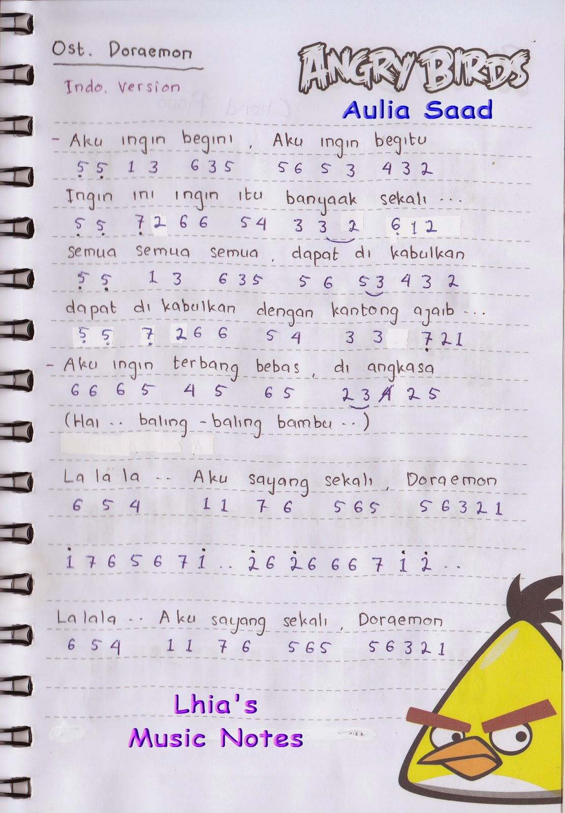 , Ost. Doraemon (Opening, Indonesia) Not Angka Lagu Akulah Serigala