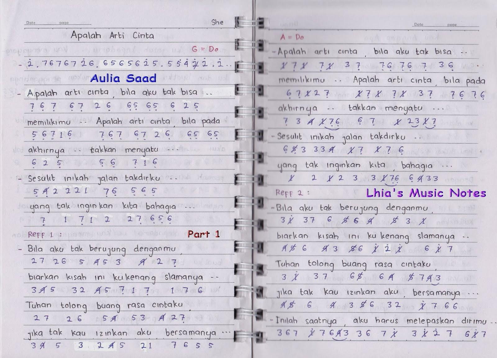 Not Angka : She – Apalah Arti Cinta | Lhia's Music Notes