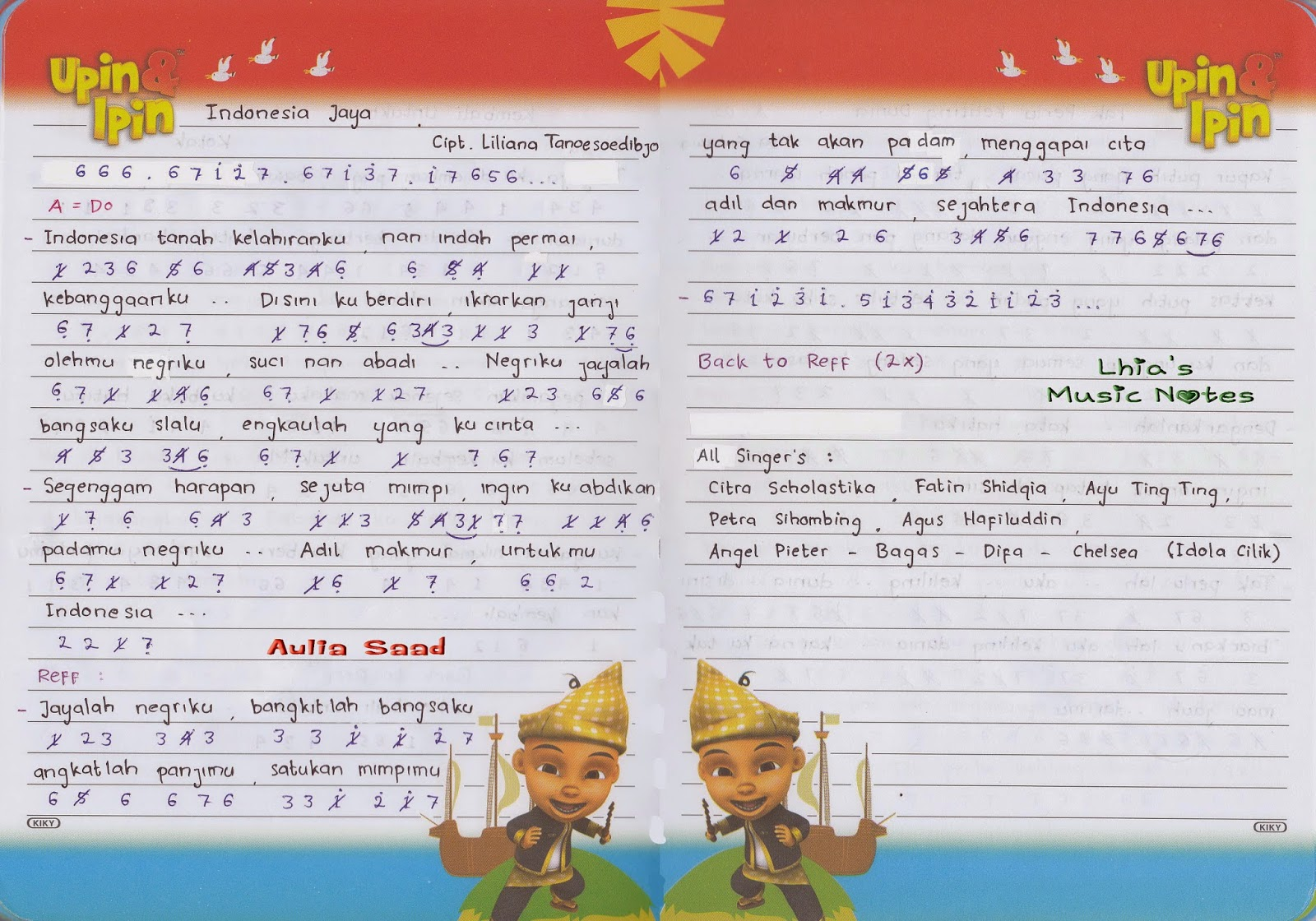 Not Angka Lagu Indonesia Jaya Cipt Liliana Tanoesoedibjo Lhia S Music Notes