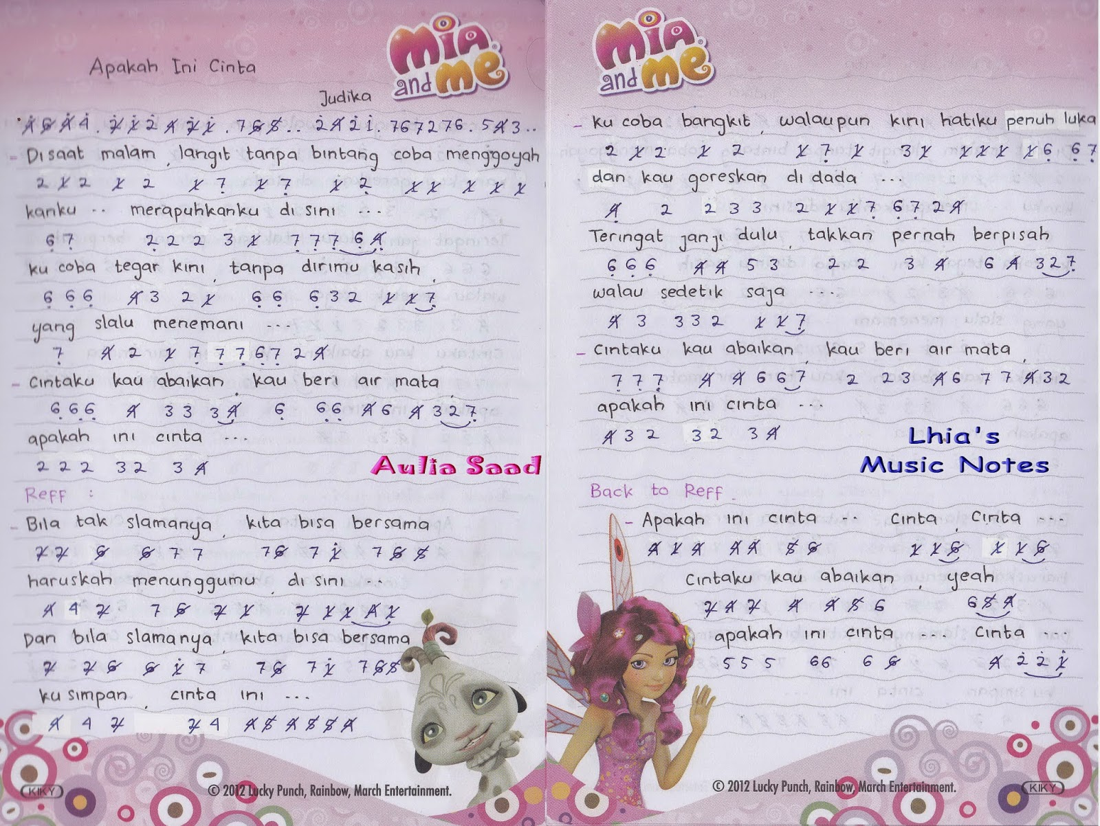 Not Angka : Judika – Apakah Ini Cinta | Lhia's Music Notes