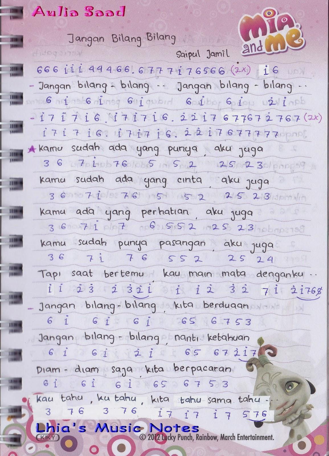 Not Pianika Pemfula Saipul Jamil Jangan Bilang Bilang Lhia S Music Notes
