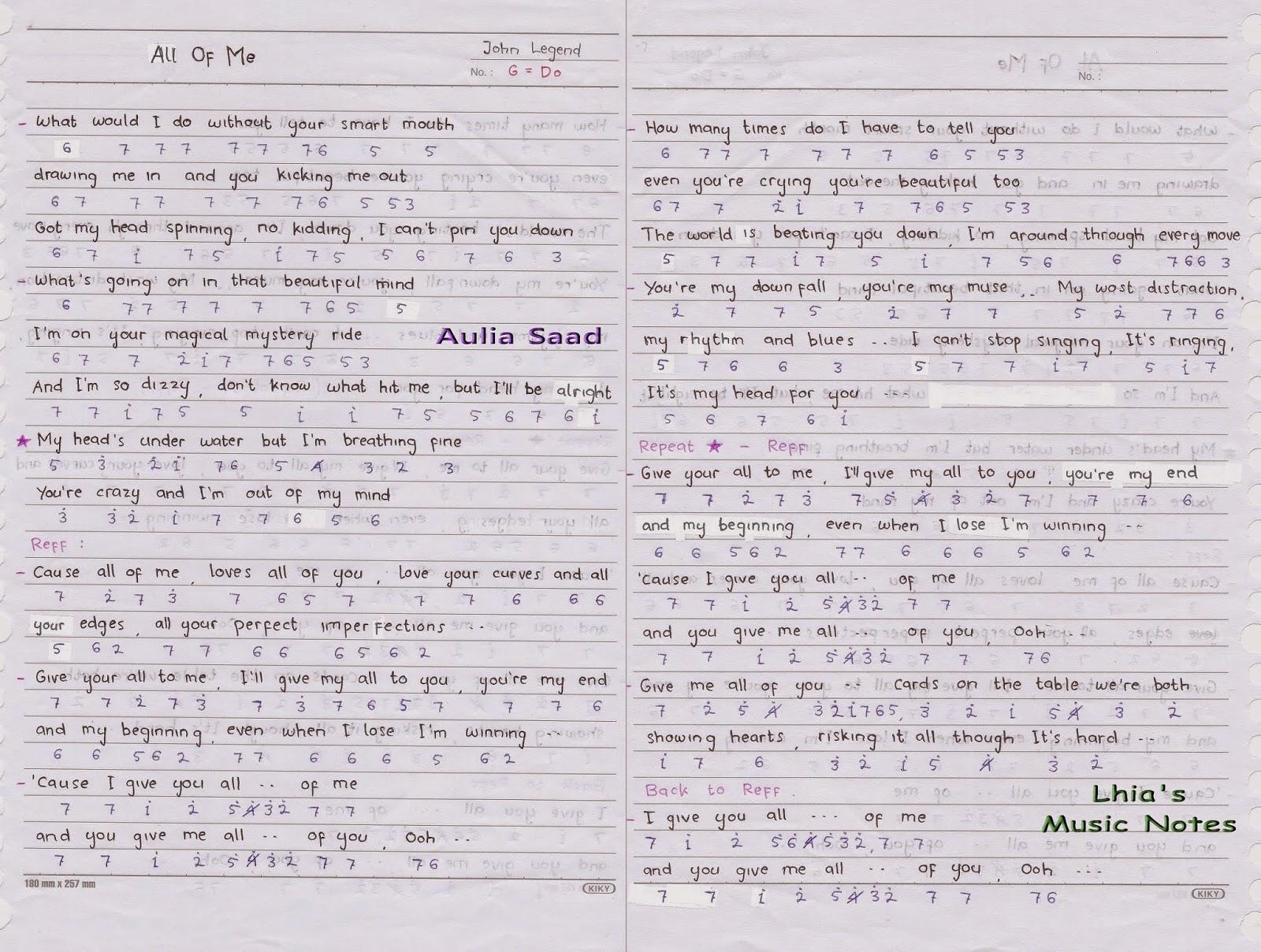 Not Angka : John Legend - All Of Me