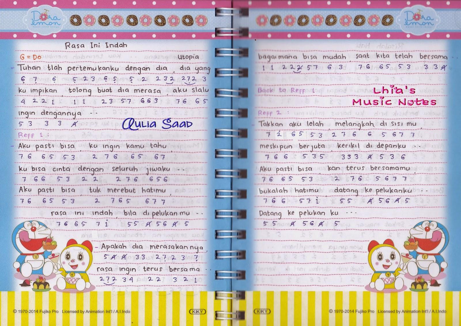 not angka lirik lagu utopia rasa ini indah | Lhia's Music Notes