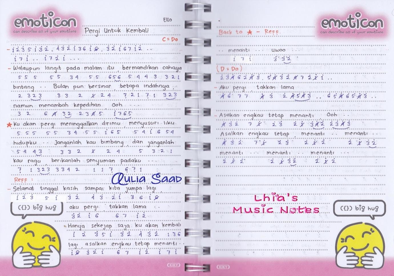 Not Angka Ello Pergi Untuk Kembali Lhia S Music Notes