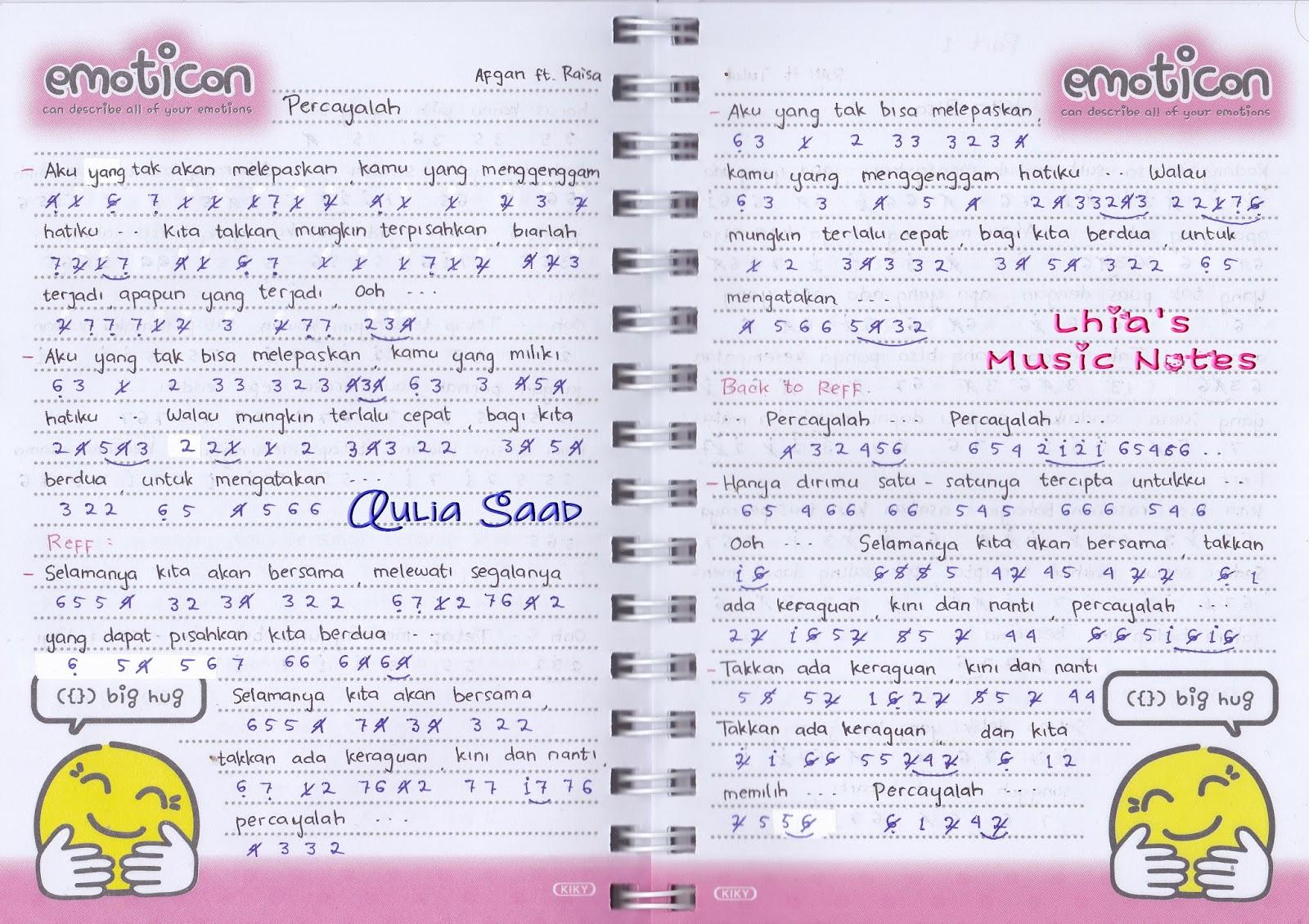 not lagu – Afgan | Lhia's Music Notes