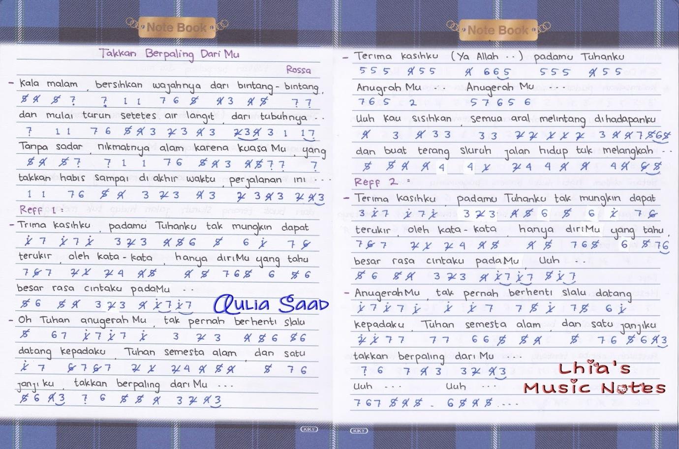 Not Angka Lagu Religi Lhia S Music Notes